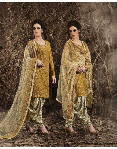 Latest Designer Mustard Net Floor Length Partywear Suit