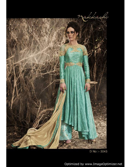 Latest Designer SeaGreen Bhagalpuri Floor Length Partywear Suit