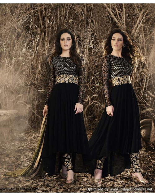 Latest Designer Black Georgette And Net Floor Length Partywear Suit