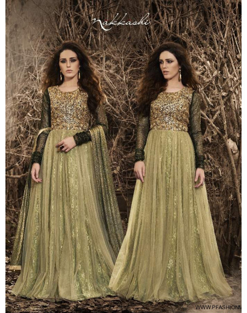 Latest Designer Black And LightGreen Net Floor Length Partywear Suit