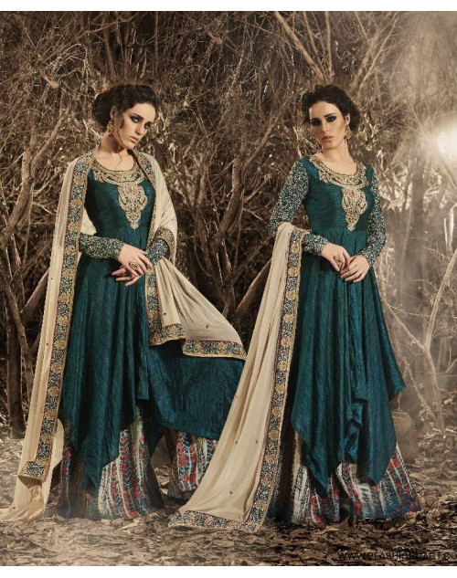 Latest Designer Peach Bhagalpuri Floor Length Partywear Suit