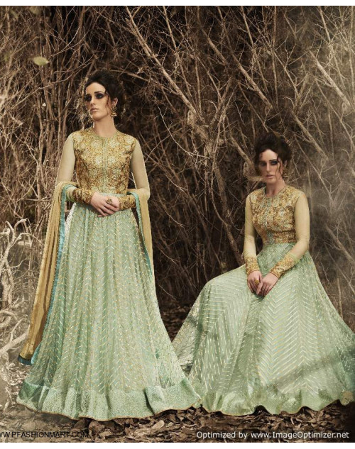 Latest Designer Pista Silk And Net Floor Length Partywear Suit