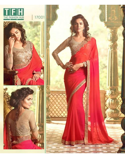 Designer Tomato Georgette Wedding Saree