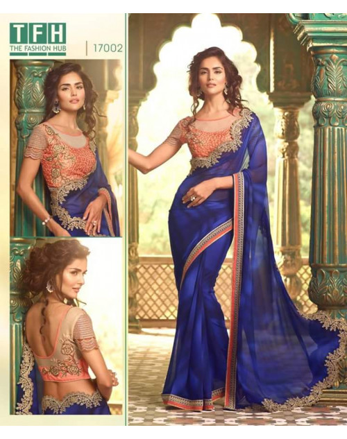 Designer Blue Georgette Wedding Saree