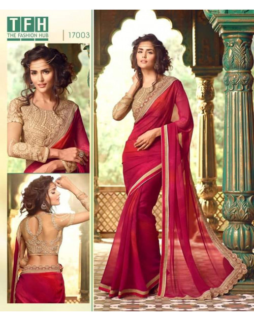 Designer Crimson Georgette Wedding Saree
