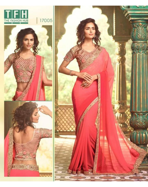 Designer Coral Georgette Wedding Saree
