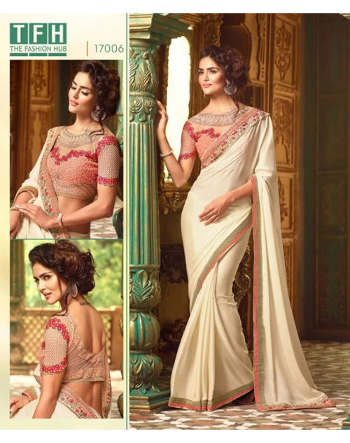 Designer Off-white Silk Georgette Wedding Saree
