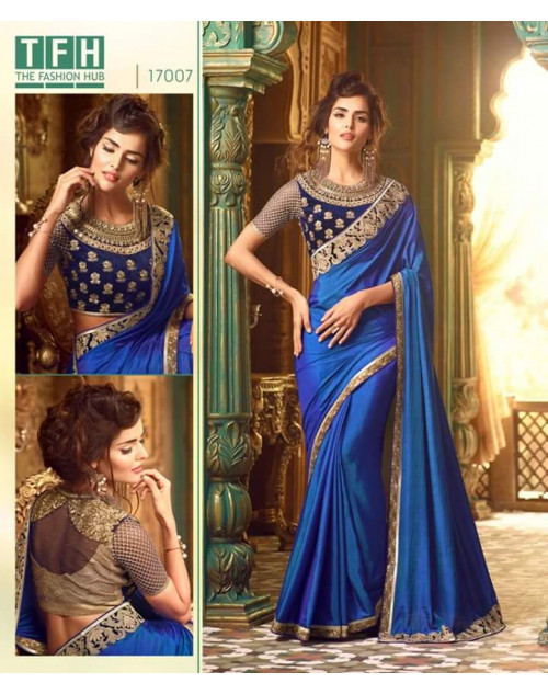Designer Blue Silk Wedding Saree