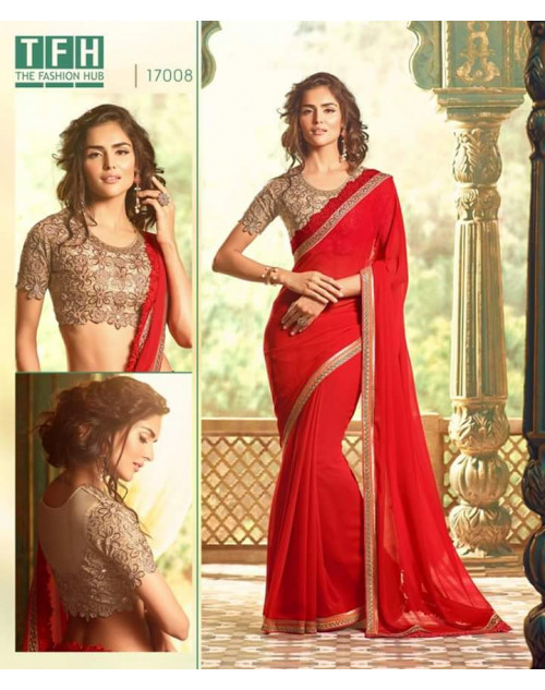 Designer Red Georgette Wedding Saree
