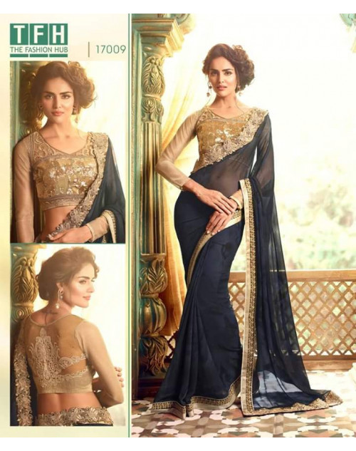 Designer SlateBlue Georgette Wedding Saree