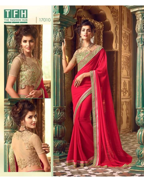 Designer Red Georgette Wedding Sarees