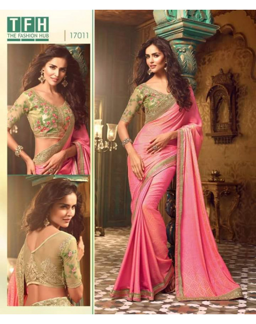 Designer LightPink Silk Wedding Saree