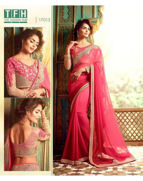 Designer Pink Georgette Wedding Saree