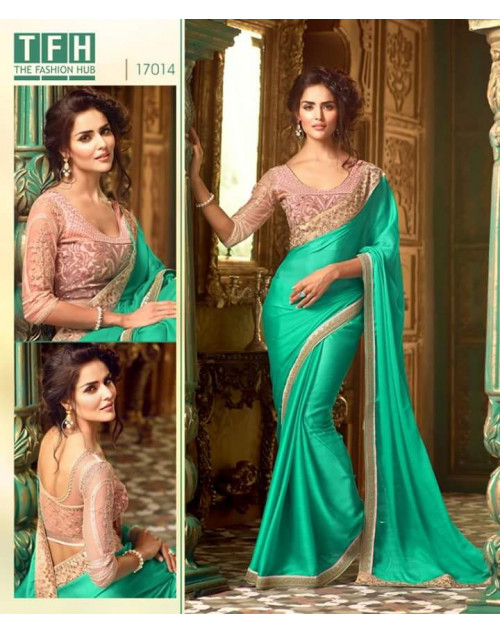 Designer SpringGreen Crepe Silk Wedding Saree