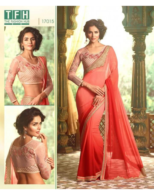 Designer Salmon Georgette Wedding Saree