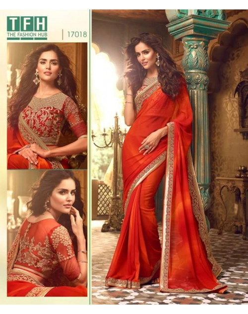 Designer Red Georgette Bridal Saree