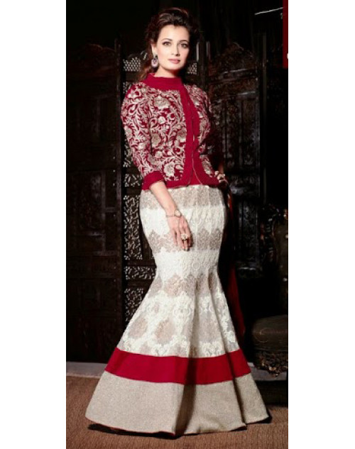 Dia Mirza Designer Maroon Wedding Suit